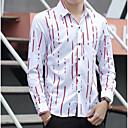 رخيصةأون قمصان رجالي-رجالي طباعة قميص, ألوان متناوبة نحيل / كم طويل
