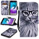 رخيصةأون حافظات / جرابات هواتف جالكسي J-غطاء من أجل Samsung Galaxy J3 (2016) محفظة / حامل البطاقات / ضد الصدمات غطاء كامل للجسم قطة قاسي جلد PU