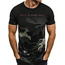 preiswerte Herren T-Shirts & Tank Tops-Herrn camuflaje - Militär Übergrössen T-shirt, Rundhalsausschnitt Druck Weiß / Kurzarm