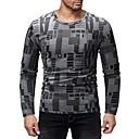 저렴한 남성 자켓 & 수트-남성용 컬러 블럭 / 그래픽 라운드 넥 프린트 - 티셔츠, 베이직 스포츠 / 클럽 면 다크 그레이 / 긴 소매