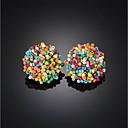 رخيصةأون أقراط-نسائي أقراط الزر خرز كرة بوهو راتينج الأقراط مجوهرات أسود / التقزح اللوني / أخضر من أجل مناسب للحفلات شارع 1 زوج