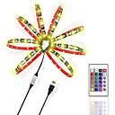 povoljno Kompleti svjetala-ZDM® 2m Setovi svjetala / RGB svjetleće trake 60 LED diode 5050 SMD 1 24Ključuje daljinski upravljač RGB Cuttable / USB / Pogodno za vozila 5 V / USB napajanje 1set / Samoljepljiva