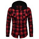 رخيصةأون قمصان رجالي-رجالي أساسي قطن قميص, مخطط / ألوان متناوبة مع قبعة / كم طويل
