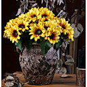 cheap Artificial Flowers-Artificial Flowers 6 Branch Classic Rustic Pastoral Style Sunflowers Tabletop Flower
