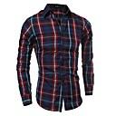 رخيصةأون قمصان رجالي-رجالي قطن قميص نحيل ياقة كلاسيكية - الأعمال التجارية / أساسي شيك, عمل بني L / كم طويل / الخريف