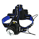cheap Headlamps-Headlamps Headlight Waterproof 1800 lm LED LED 1 Emitters 3 Mode Waterproof Zoomable Adjustable Focus Camping / Hiking / Caving Everyday Use Cycling / Bike Black Blue / Aluminum Alloy