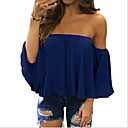 cheap Bathroom Gadgets-Women's Daily Plus Size Shirt - Solid Colored Ruffle / Fashion Off Shoulder Yellow / Spring / Summer / Fall / Winter