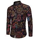 povoljno Muške košulje-Majica Muškarci - Vintage Lan Paisley uzorak / Etno Široki ovratnik Print Crn / Dugih rukava