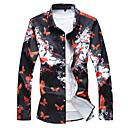 رخيصةأون قمصان رجالي-رجالي النمط الصيني قياس كبير - قطن قميص, ورد / حيوان / كم طويل / الخريف