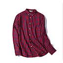 povoljno Zimski modni dodaci-Majica Muškarci - Osnovni Dnevno Karirani uzorak Kolaž Red / Dugih rukava
