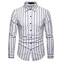 رخيصةأون قمصان رجالي-رجالي عمل الأعمال التجارية / أساسي قطن قميص, مخطط / كم طويل