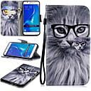 رخيصةأون حافظات / جرابات هواتف جالكسي J-غطاء من أجل Samsung Galaxy J7 (2016) محفظة / حامل البطاقات / ضد الصدمات غطاء كامل للجسم قطة قاسي جلد PU