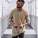 povoljno Muški džemperi i kardigani-Muškarci Dnevno Jednobojni Dugih rukava Regularna Pullover Džemper od džempera Crn / Svjetlosmeđ / Obala M / L / XL