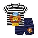 رخيصةأون القلائد-مجموعة ملابس قطن قصيرة قصيرة كم قصير خملة الجاكوارد الأزرق والأبيض أساسي للصبيان طفل / طفل صغير