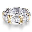 رخيصةأون أدوات الحمام-نسائي خاتم مكعب زركونيا 1PC فضي سبيكة دائري شائع أنيق زفاف مجوهرات مولع ب جميل