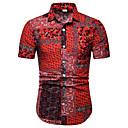رخيصةأون قمصان رجالي-رجالي نادي الأعمال التجارية / أناقة الشارع طباعة مقاس أوروبي / أمريكي - كتان قميص, ألوان متناوبة ياقة كلاسيكية / كم قصير