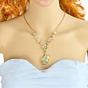 povoljno Komplet nakita-Žene Zelen žuta Tourmaline Ogrlice s privjeskom Kruška Cvijet Rukav leptir Kruška Romantični Moda Krom Emajl žuta Svijetlo zelena 56.5 cm Ogrlice Jewelry 1pc Za Dnevno Spoj