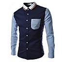 رخيصةأون قمصان رجالي-رجالي عمل أساسي بقع مقاس أوروبي / أمريكي - قطن قميص, ألوان متناوبة ياقة كلاسيكية / كم طويل / الصيف