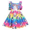رخيصةأون لعب-فستان طول الركبة بدون كم مطوي بقع Unicorn مناسب للعطلات رياضي Active للفتيات أطفال
