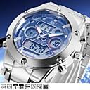 voordelige Merk Horloge-ASJ Heren Digitaal horloge Japans Digitaal Zilver 100 m Waterbestendig Alarm Kalender Analoog Modieus - Wit Blauw Een jaar Levensduur Batterij