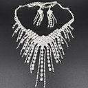 ieftine Seturi de Bijuterii-Seturi de bijuterii Coliere cu Pandativ Franjuri Lung femei Ciucure Petrecere Elegant Zirconiu Cubic Diamante Artificiale cercei Bijuterii Alb Pentru / Cercei