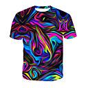 cheap Men's Tees & Tank Tops-Men's Daily T-shirt - 3D / Rainbow Print Round Neck Rainbow / Short Sleeve / Summer