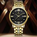 povoljno Prstenje-Muškarci Sat uz haljinu Kvarc Nehrđajući čelik Srebro / Zlatna Vodootpornost Kalendar Kreativan Analog Ležerne prilike Moda - Crn Pink Zlatni + crna