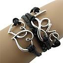 رخيصةأون أساور-رجالي نسائي أساور التفاف جديلي قلب هيب هوب حبل مجوهرات سوار أسود من أجل هدية مناسب للبس اليومي