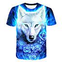 お買い得  メンズTシャツ&タンクトップ-男性用 クラブ - プリント Tシャツ ベーシック / ストリートファッション ラウンドネック 3D / 動物 オオカミ ブルー / 半袖