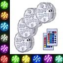 povoljno Vanjski fenjeri-4kom 3 W Podvodna svjetla Vodootporno / Daljinski upravljano / Ukrasno RGB 5.5 V Bazen / Prikladno za vaze i akvarije 10 LED zrnca