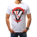 voordelige iPhone 6 Plus hoesjes-Heren Print T-shirt Katoen Geometrisch Ronde hals Wit