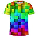 povoljno Muške majice i potkošulje-Majica s rukavima Muškarci Ležerno / za svaki dan / Plus veličine Geometrijski oblici / 3D Okrugli izrez Print Duga / Kratkih rukava