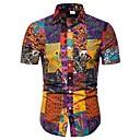 رخيصةأون قمصان رجالي-رجالي طباعة قياس كبير - قطن قميص, ترايبال / كم قصير
