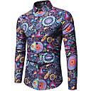 رخيصةأون قمصان رجالي-رجالي طباعة قطن قميص, هندسي / ألوان متناوبة