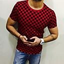 abordables Pulls & Cardigans pour Homme-Tee-shirt Taille EU / US Homme, Damier Imprimé Col Arrondi Blanche