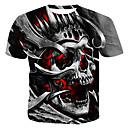 povoljno Muške majice s kapuljačom i trenirke-Majica s rukavima Muškarci Pamuk Color block / 3D / Lubanje Okrugli izrez Print Sive boje