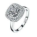 tanie Pierścionki-Damskie Pierścień Micro Pave Ring Cyrkonia 1 szt. Biały Miedź Geometric Shape Elegancki Luksusowy Europejskie Ślub Impreza Biżuteria Klasyczny HALO Nowoczesne