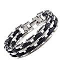 voordelige Heren Armband-Heren Armbanden met ketting en sluiting Modieus Initial Titanium Staal Armband sieraden Zilver Voor Dagelijks