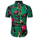 povoljno Muške košulje-Veći konfekcijski brojevi Majica Muškarci Pamuk Cvjetni print / Geometrijski oblici / Color block Print Djetelina
