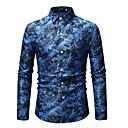 povoljno Muške jakne-Majica Muškarci Pamuk Cvjetni print / Geometrijski oblici / Color block Print Plava