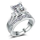 povoljno Prstenje za parove-Par je Prstenasti set Kubični Zirconia 2pcs Zlato Srebro Kamen Pozlaćeni Geometric Shape Stilski Europska Vjenčan Vjenčanje Dar Jewelry odgovarajući Njegova i Njezina Cool