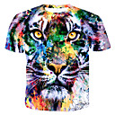 お買い得  メンズTシャツ&タンクトップ-男性用 プリント Tシャツ ラウンドネック 虹色 / 動物 コットン レインボー