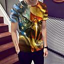povoljno Muške majice i potkošulje-Majica s rukavima Muškarci Color block / Životinja Okrugli izrez Print žuta