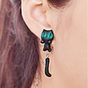 povoljno Naušnice-Žene Viseće naušnice Naušnica Animal Serija Mačka Jednostavan Slatka Style Za djecu Naušnice Jewelry Crn Za Kauzalni Spoj 1 par