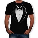 povoljno Muške majice i potkošulje-Majica s rukavima Muškarci 3D Okrugli izrez Print Crn
