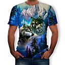 رخيصةأون قمصان رجالي-رجالي طباعة تيشرت, 3D / حيوان رقبة دائرية