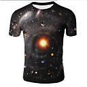 povoljno Muški satovi-Veći konfekcijski brojevi Majica s rukavima Muškarci Galaksija / 3D Okrugli izrez Print Crn