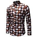 رخيصةأون قمصان رجالي-رجالي طباعة قطن قميص, هندسي / ألوان متناوبة / زخرفات