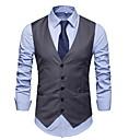 رخيصةأون سترات و بدلات الرجال-رجالي أسود رمادي M L XL Vest قياس كبير لون سادة V رقبة نحيل / بدون كم / عمل