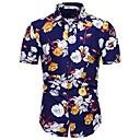 povoljno Muške košulje-Veličina EU / SAD Majica Muškarci Pamuk Cvjetni print / Geometrijski oblici / Grafika Print Navy Plava